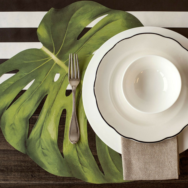 set-de-table-feuille-tropical-monstera-fleux