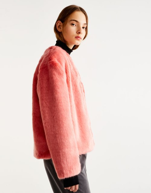 Fausse fourrure pull and bear hiver manteau