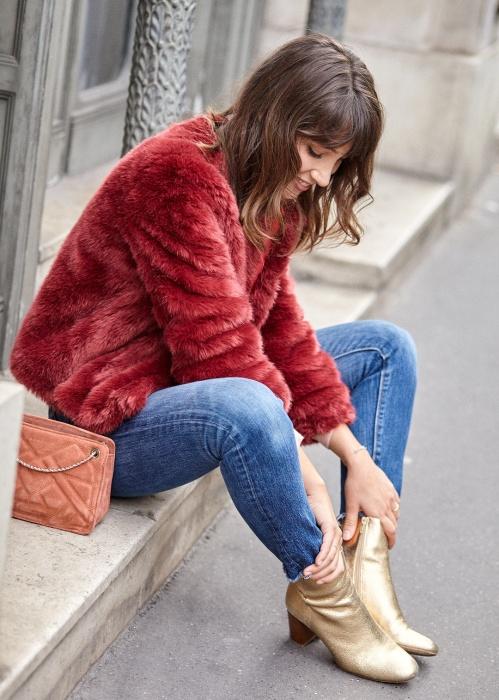 manteau fausse fourrure sezane rouge