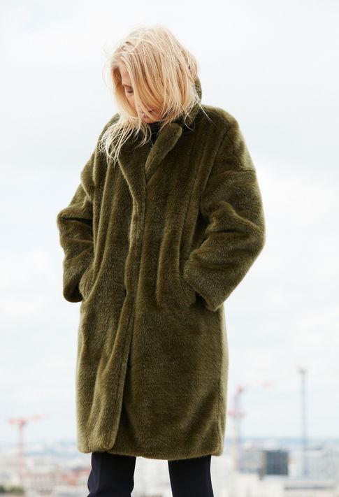 manteau frida claudie pierlot imitation fourrure vert