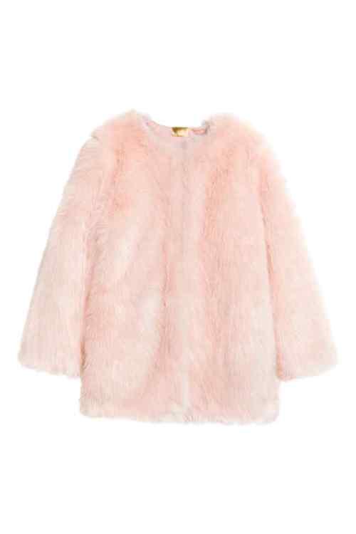 veste rose clair fausse fourrure h&m