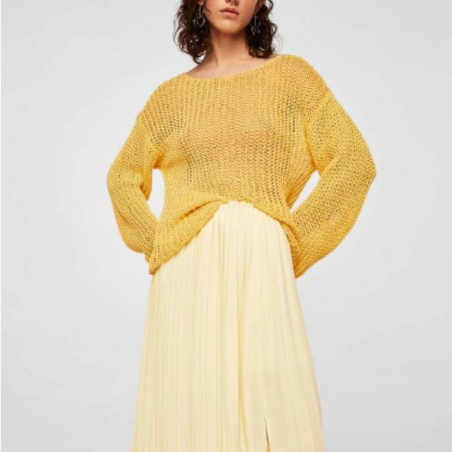 jupe-plissee-midi-mango-jaune-pastel