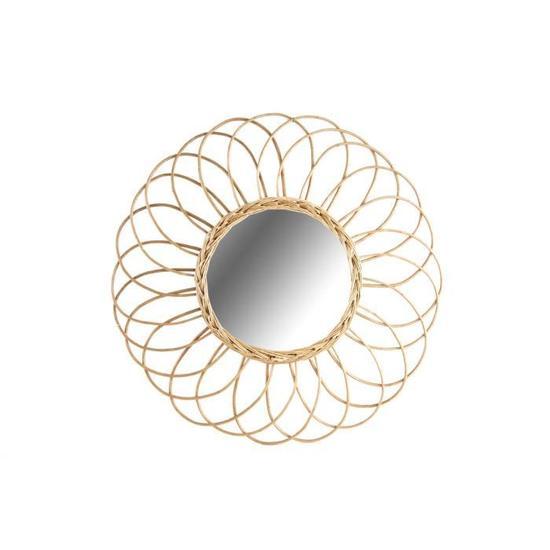 miroir en osier oval