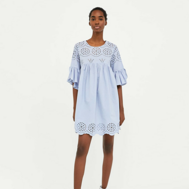 robe-zara-broderie-perforee-bleu