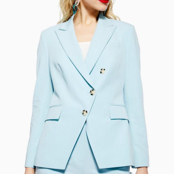 Blazer asymétrique-bleu-ciel-veste-femme-Topshop