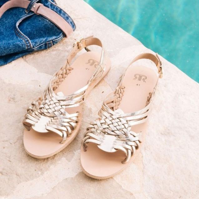 sandales-ete-chaussures-plates-dore-la-redoute-collections-tressées